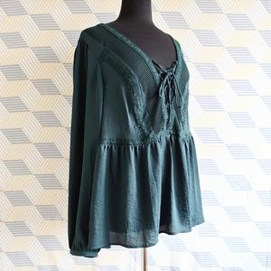 3/$60 forest green boho peasant blouse